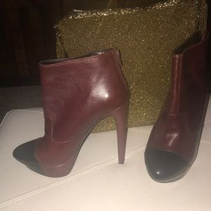 Two tone black and burgundy leather ankle boots